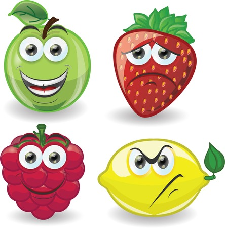 Cartoon fruits with emotions  Vector