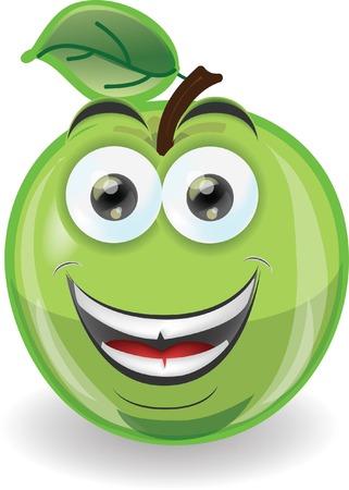manzana caricatura: Cartoon manzana con emoción