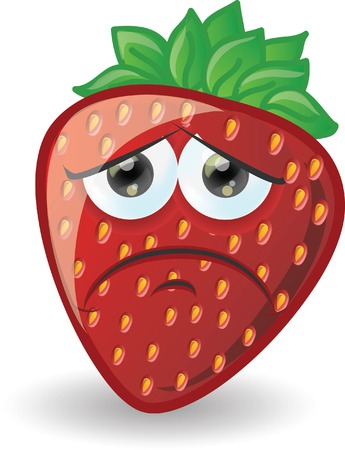 Cartoon strawberry with emotion  Vector