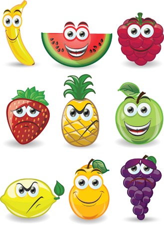 fruit cartoon: Cartoon fruits with different emotions
