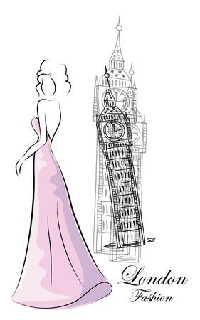 Fashion Frau in der Nähe Big Ben