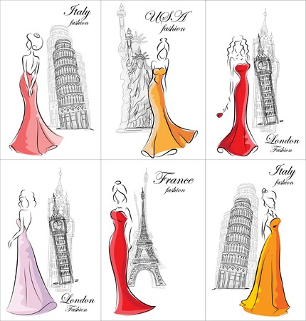 Set of fashion women in different countries Illustration