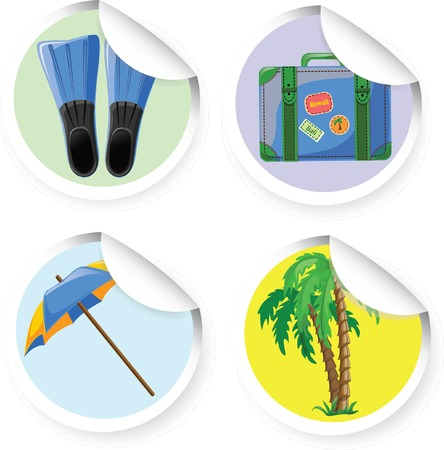 Travel icons- palm, suitcase, umbrella, flippers  Stock Vector - 22952148