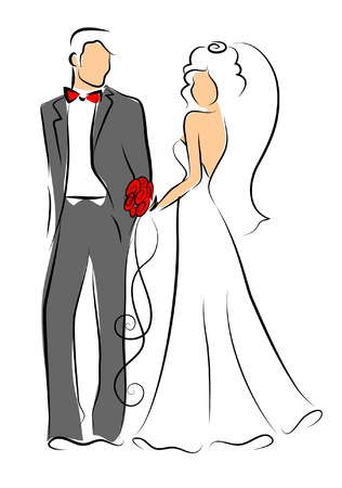 the intimacy: Silhouette of bride and groom, background