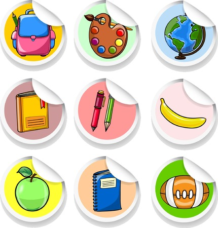 Sticker with cartoon school supplies  Vector