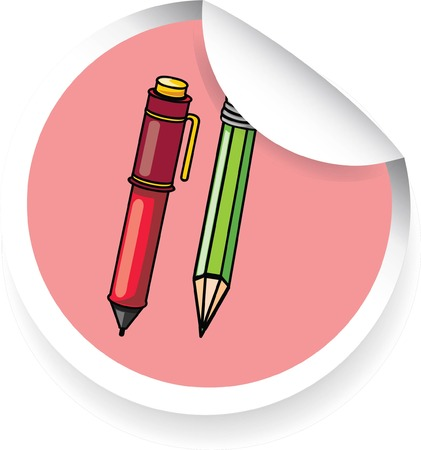 Sticker with cartoon pen and pencil  Vector