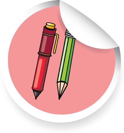 novice: Sticker with cartoon pen and pencil  Illustration