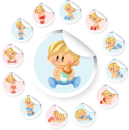 baby boy birth: Vector stickers with baby boys and baby girls