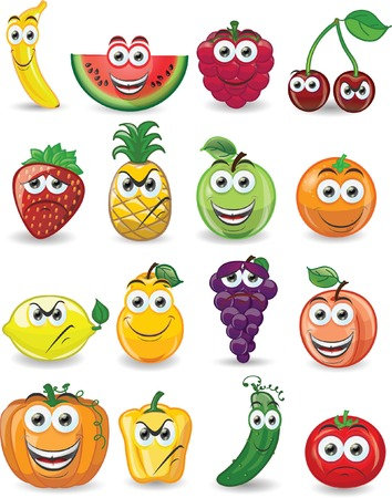 strawberry cartoon: Cartoon fruits with different emotions