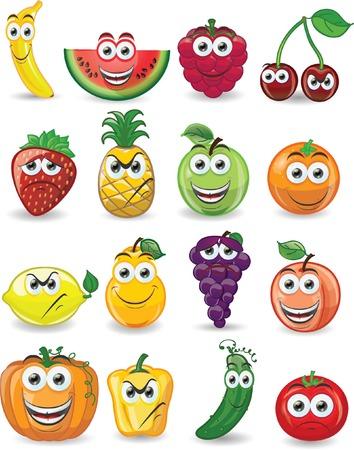 Frutos de dibujos animados con diferentes emociones