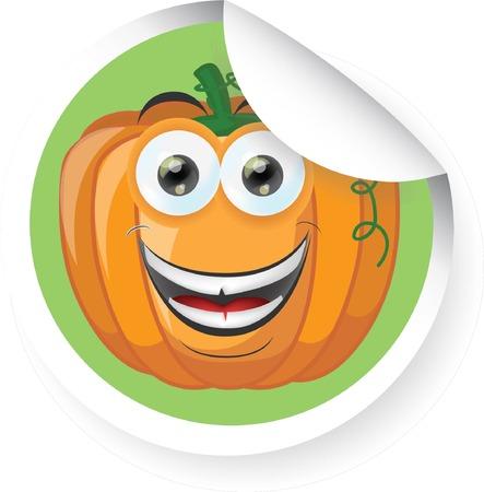 calabaza caricatura: Etiqueta con la calabaza de dibujos animados