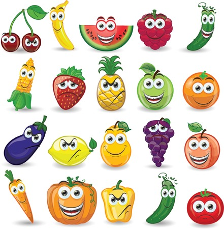 pumpkin tomato: Cartoon fruits and vegetables