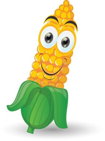 Cartoon smile corn  Vector