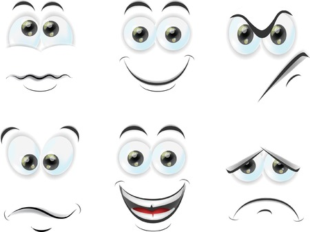 sad cartoon: Cartoon faces with emotions  Illustration