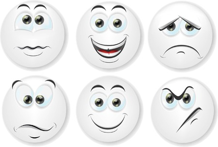 emotions faces: Cartoon faces with emotions  Illustration