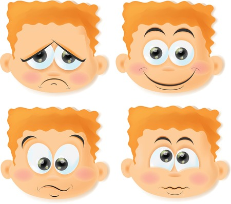 Set of cartoon funny boys with emotions  Vector