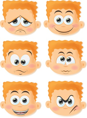 'face painting': Set of cartoon funny boys with emotions
