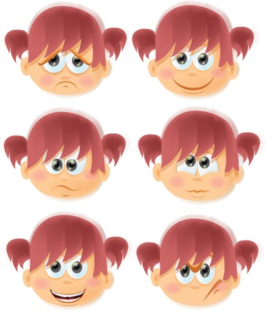Set of cartoon funny girls with emotions Vector