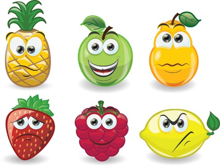 Cartoon fruits with emotions  Illustration