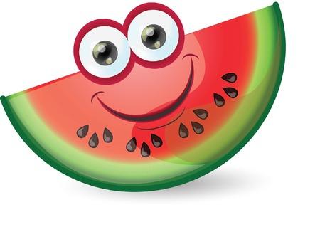 Cartoon funny watermelon  Иллюстрация