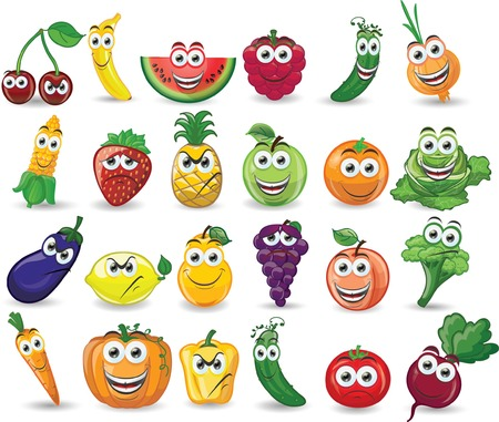 Cartoon fruits and vegetables with different