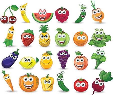 Frutas y verduras con diferentes dibujos animados