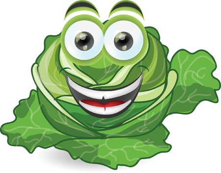 Cartoon funny cabbage