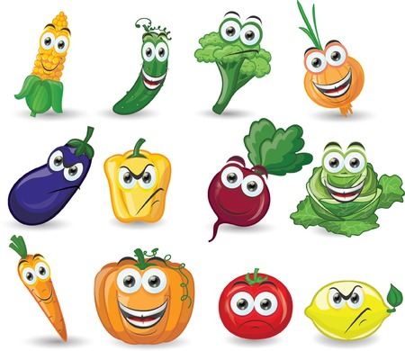 cucumber salad: Cartoon vegetables with different emotions