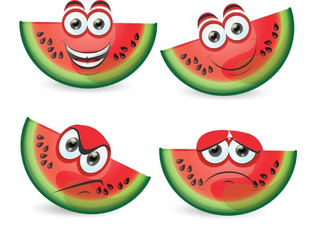 Cartoon funny watermelon  Vector