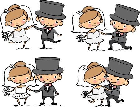 Cartoon wedding pictures  Vector
