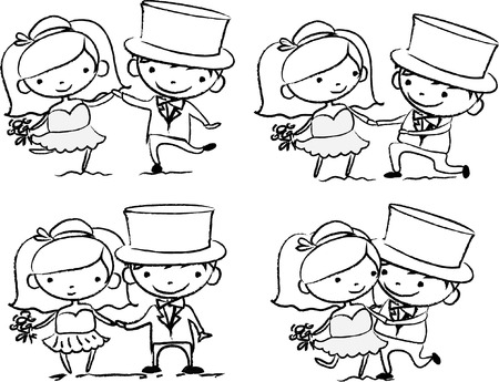 marriage proposal: Cartoon wedding pictures