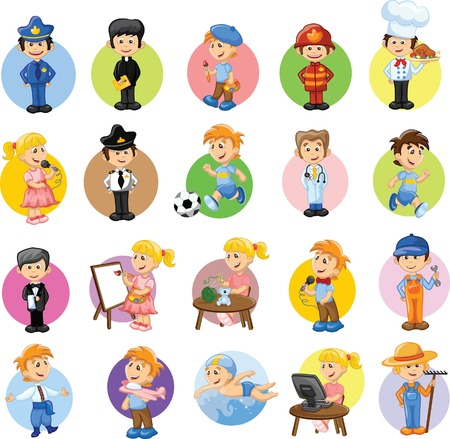 cartoon carpenter: Cartoon characters of different professions  Illustration