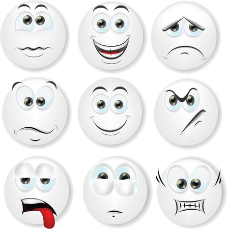 face expressions: Cartoon faces with emotions  Illustration