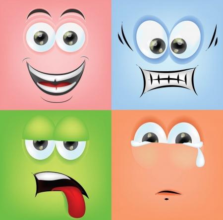 caras de emociones: Caras de la historieta con las emociones