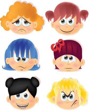 emotion faces:  Cartoon funny kids with emotions