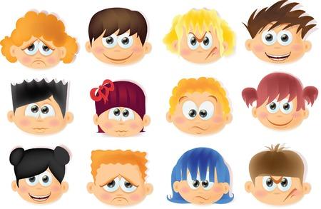 caras de emociones: Ni�os divertidos dibujos animados con emociones Vectores