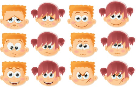 Cartoon funny kids with emotions  Vector