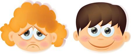 Enfants de bande dessinée drôle avec des émotions