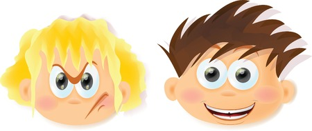 disappoint: Cartoon funny kids with emotions  Illustration