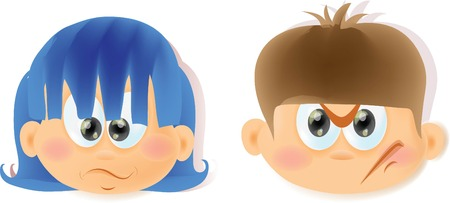 sticking: Cartoon funny kids with emotions  Illustration