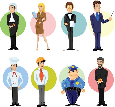 security company: Cartoon characters of different professions  Illustration
