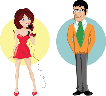 Cartoon characters of girl and boy  Vector