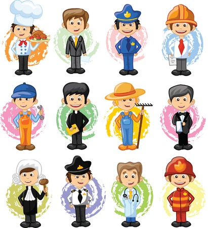 professions: Cartoon characters of different professions  Illustration