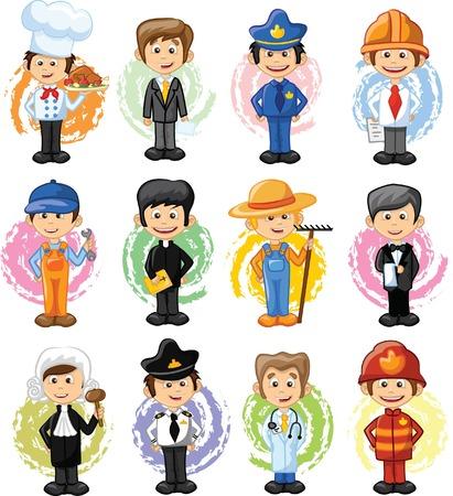 Stripfiguren van verschillende beroepen Stock Illustratie