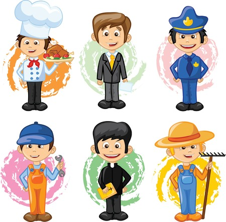 safety officer: Cartoon characters of different professions  Illustration
