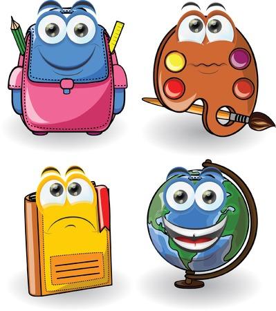 mochila escolar: Material escolar de dibujos animados Vectores