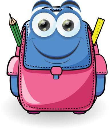 school bag: Cartoon school bag  Illustration