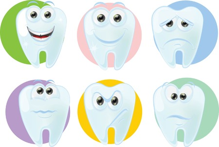 dental hygiene: Cartoon cute tooth with different emotions