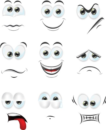 happy face: Cartoon faces with emotions  Illustration