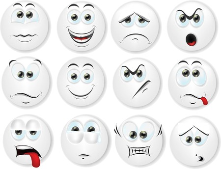 Cartoon faces with emotions  Vettoriali